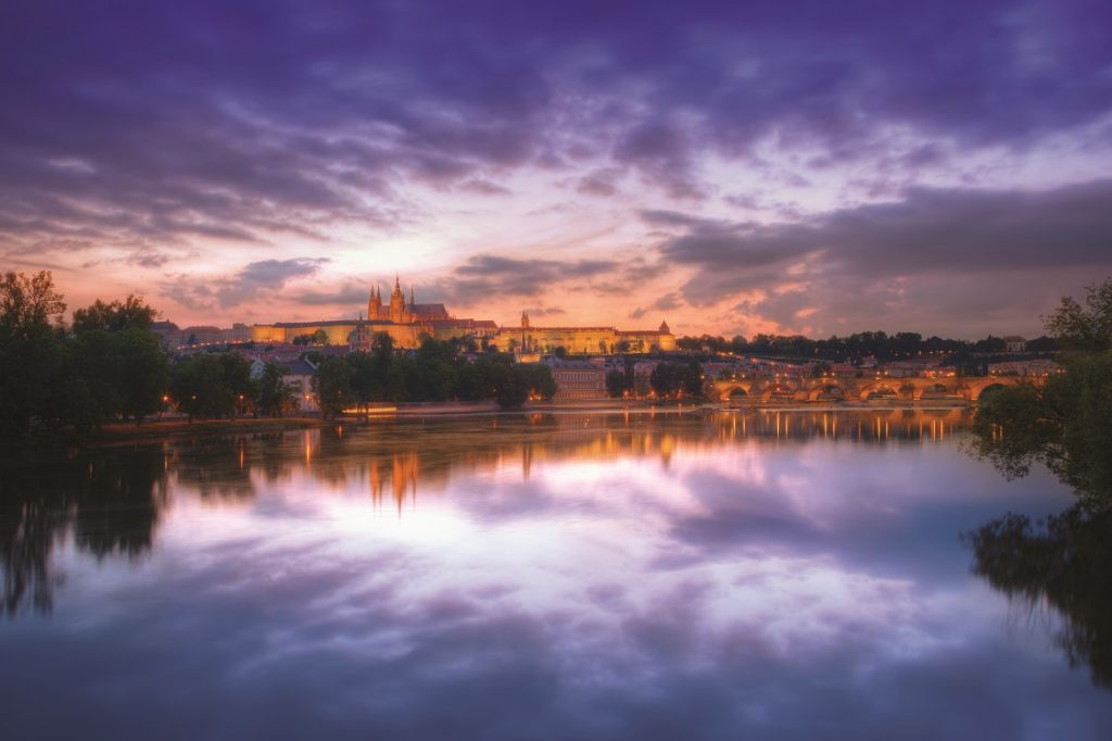 Prague Vltava River at sunset